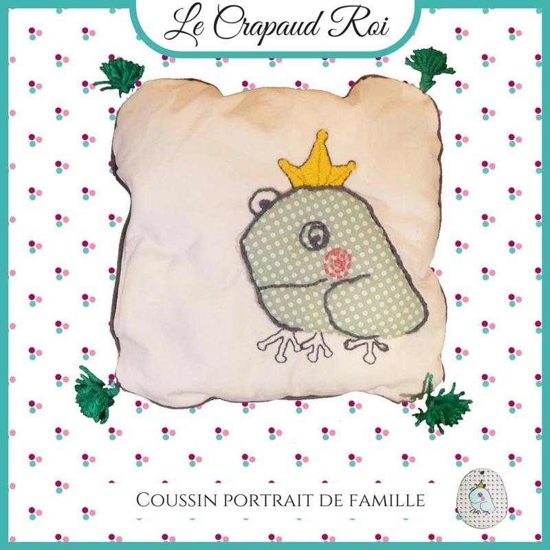 #coussin#Le Crapaud Roi#portrait de famille, www.lespetitsloupsdemilie.com